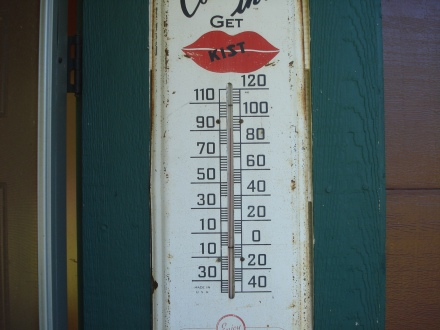 It's 92 degrees on the old Kist thermometer.