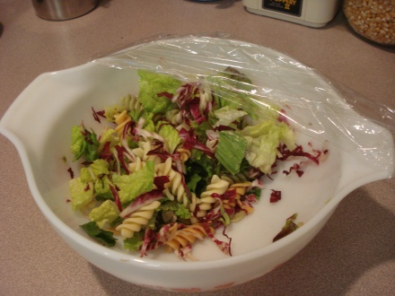 Cold salad is great in the middle of a hot day.