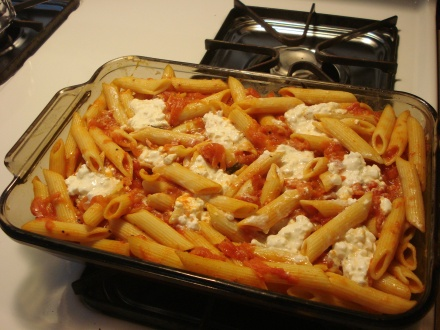 Here we have a last night's rigatoni with marinara sauce - soon to be tonight's pasta cheese casserole.