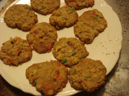 This is a standard oatmeal cookie recipe with a cup of Rice Krispies and Fruity Pebbles stirred in.