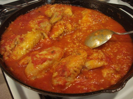 Here's my version of Chicken Cacciatore, on California brown rice.