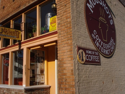 We started the morning at Mugshots on Montgomery Street. I'm sorry I couldn't get a better picture of this really neat old brick building.
