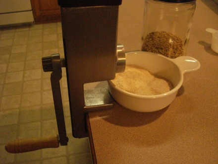 This grinder is an upper body workout, but I get a cup and a half of flour out of a cup of wheat berries in about 10 minutes.