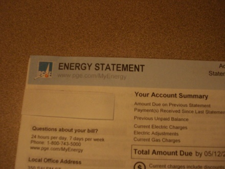 Here's a crappy picture of my PG&E bill - notice, they don't include your total Utility Tax on the front anymore - get out your dayglo Sharpie and follow me.