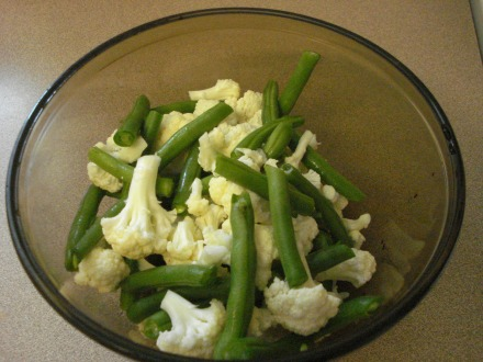 I got some cauliflower and green beans at Safeway, washed them good, cut them up into little bites.