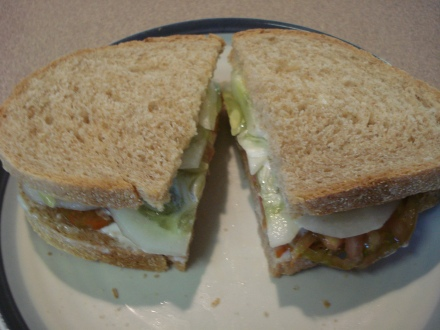 This is something I think about all winter - a tomato and cucumber sandwich fresh out of the garden.