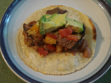 We'll be getting more meals out of a tri-tip now that my son is headed off to college. Here's one of my faves -  tri-tip and beans on a homemade corn tortilla. This time we fried it in oil instead of dry, makes it crispy around the edges.