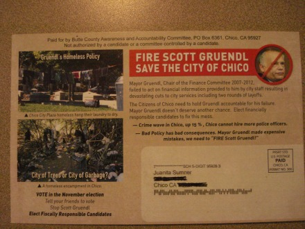 "This is probably an illegal mailer, certainly a ""hit piece,"" but I must say, I agree 100 percent with the message - VOTE GRUENDL OUT IN 2014!"