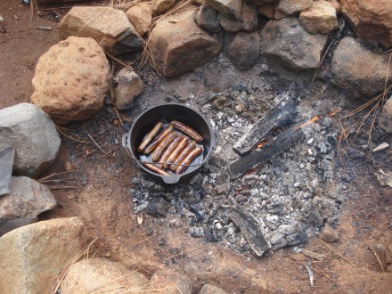 Nothing makes a camping trip like a pack of pork/apple sausages from Chico Locker.