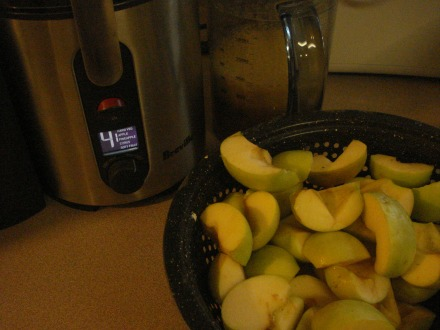 I had to trim out some wormy spots, but if I can get a colander full of fruit, it's worth dragging out the juicer.