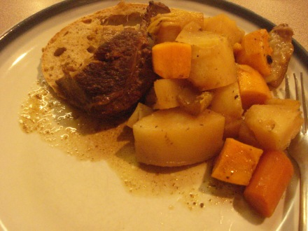 Here's what we waited for all day - the pic does not do justice. For one thing, you can't smell it. For another, you can't see how tender the meat was, or how sweet the potatoes and carrots turned out. It was all melt-in-your-mouth delicious!