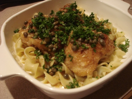 The capers in this chicken picatta we made for dinner really opened up the old sinuses.