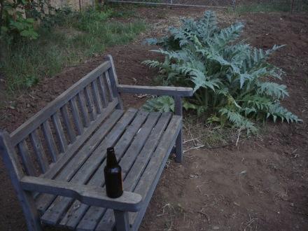 A garden bench - who says we ain't got class?