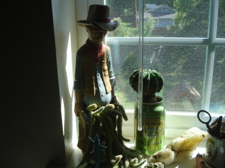 "I call this planter, ""Cowboy with a pantsful of trouble.""  Sometimes he gets little red flowers."