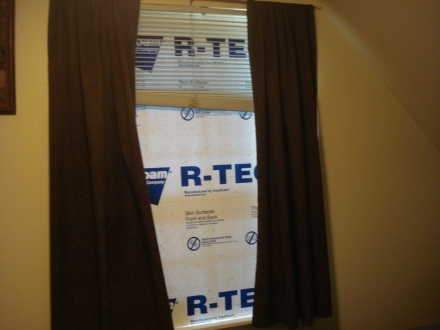 My husband bought me a piece of foam core insulation for our East window.