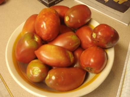 "This is a variety of roma tomatoes called ""Purple Russian."" We'll see how they sauce up."