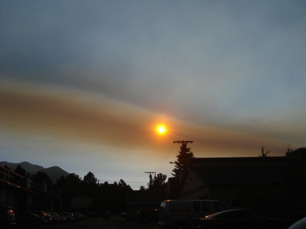 This column of smoke is headed straight out of Yosemite National Forest, where there were 12 fires burning.
