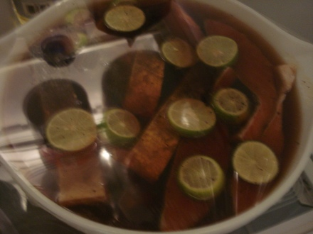"Nothing says ""Good Morning!"" like a bowl full of fish in brine. The limes add a festive touch."