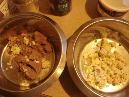 My homemade dog food on the right, the canned caca on the left.
