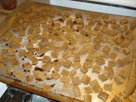I scattered the pieces on a cookie sheet and returned them to the cooling oven to dry them out a little, make them crunchier.